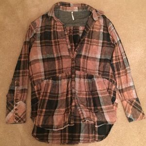 Free People Flannel Tunic Top